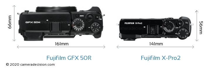 Fujifilm GFX 50R vs Fujifilm X-Pro2 Camera Size Comparison - Top View