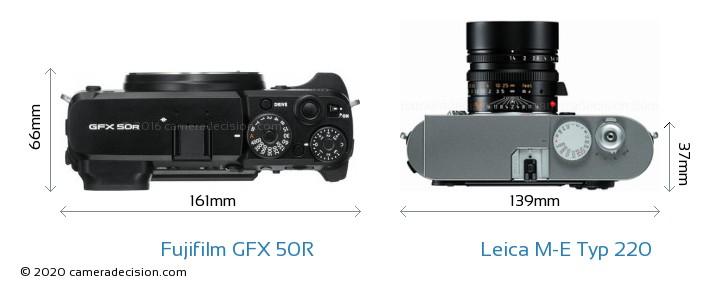 Fujifilm GFX 50R vs Leica M-E Typ 220 Camera Size Comparison - Top View