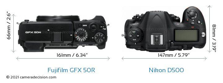 Fujifilm GFX 50R vs Nikon D500 Camera Size Comparison - Top View