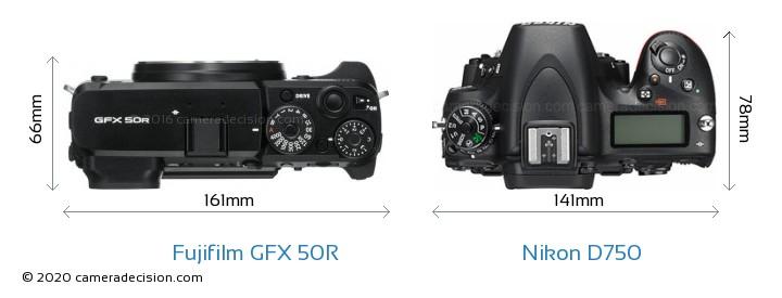Fujifilm GFX 50R vs Nikon D750 Camera Size Comparison - Top View
