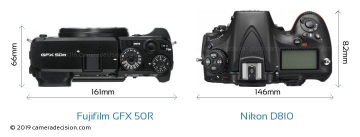Fujifilm GFX 50R vs Nikon D810 Camera Size Comparison - Top View