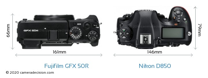 Fujifilm GFX 50R vs Nikon D850 Camera Size Comparison - Top View