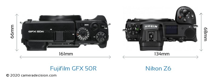 Fujifilm GFX 50R vs Nikon Z6 Camera Size Comparison - Top View
