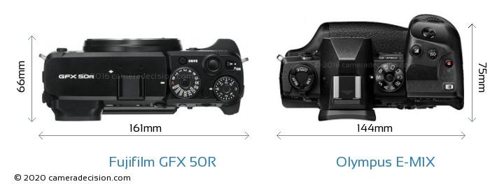 Fujifilm GFX 50R vs Olympus E-M1X Camera Size Comparison - Top View