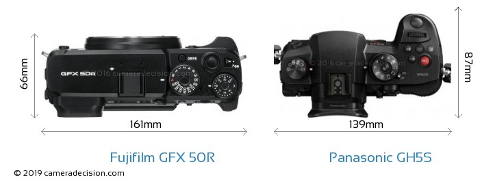 Fujifilm GFX 50R vs Panasonic GH5S Camera Size Comparison - Top View