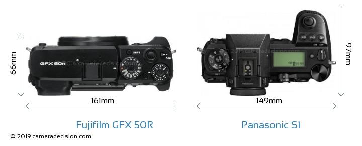 Fujifilm GFX 50R vs Panasonic S1 Camera Size Comparison - Top View