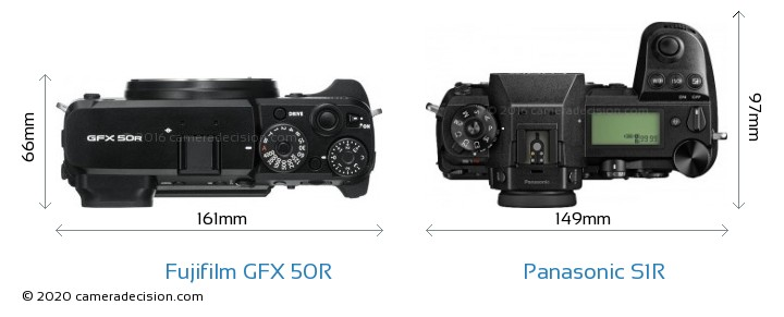 Fujifilm GFX 50R vs Panasonic S1R Camera Size Comparison - Top View