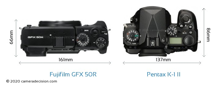 Fujifilm GFX 50R vs Pentax K-1 II Camera Size Comparison - Top View