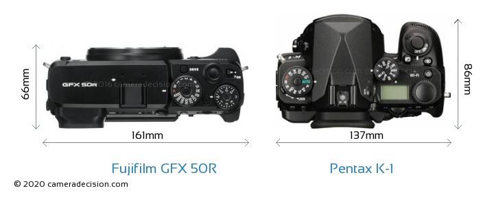 Fujifilm GFX 50R vs Pentax K-1 Camera Size Comparison - Top View