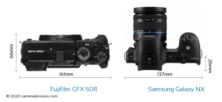 Fujifilm GFX 50R vs Samsung Galaxy NX Camera Size Comparison - Top View