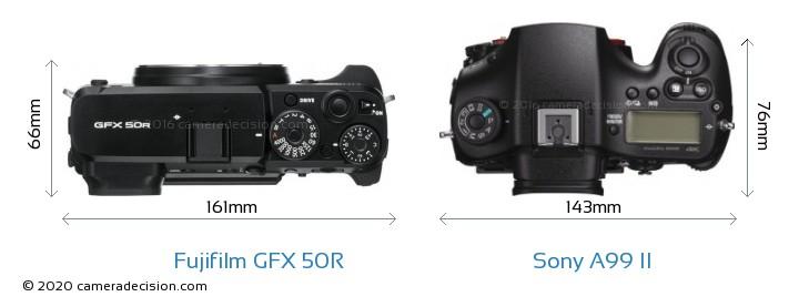 Fujifilm GFX 50R vs Sony A99 II Camera Size Comparison - Top View