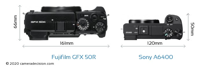 Fujifilm GFX 50R vs Sony A6400 Camera Size Comparison - Top View