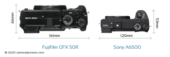 Fujifilm GFX 50R vs Sony A6500 Camera Size Comparison - Top View