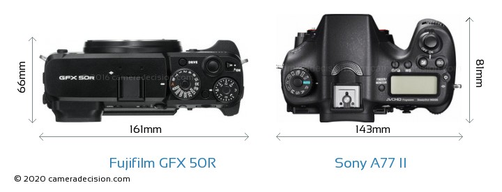 Fujifilm GFX 50R vs Sony A77 II Camera Size Comparison - Top View