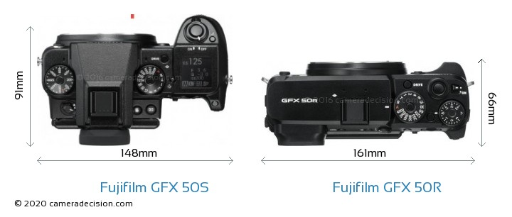 Fujifilm GFX 50S vs Fujifilm GFX 50R Camera Size Comparison - Top View
