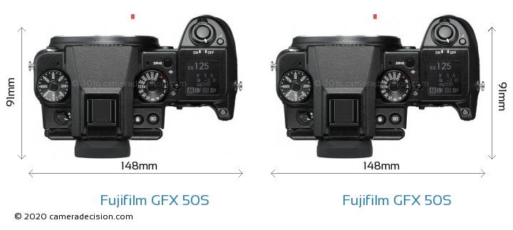 Fujifilm GFX 50S vs Fujifilm GFX 50S Camera Size Comparison - Top View