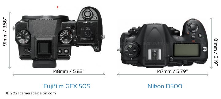 Fujifilm GFX 50S vs Nikon D500 Camera Size Comparison - Top View