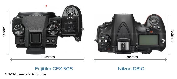Fujifilm GFX 50S vs Nikon D810 Camera Size Comparison - Top View