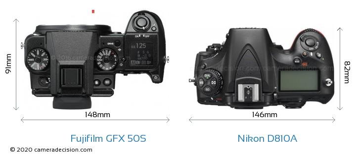 Fujifilm GFX 50S vs Nikon D810A Camera Size Comparison - Top View