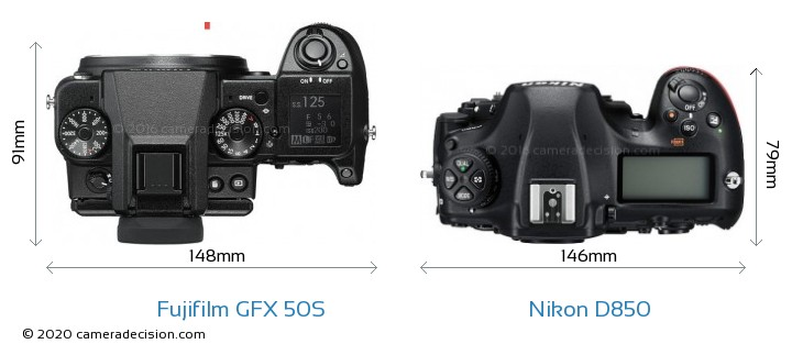 Fujifilm GFX 50S vs Nikon D850 Camera Size Comparison - Top View