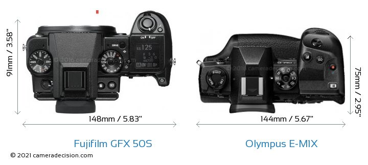 Fujifilm GFX 50S vs Olympus E-M1X Camera Size Comparison - Top View
