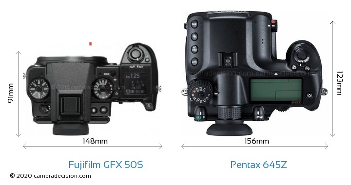 Fujifilm GFX 50S vs Pentax 645Z Camera Size Comparison - Top View