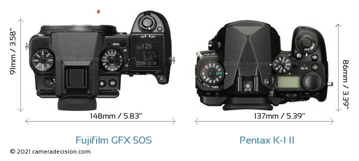 Fujifilm GFX 50S vs Pentax K-1 II Camera Size Comparison - Top View