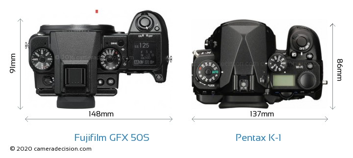 Fujifilm GFX 50S vs Pentax K-1 Camera Size Comparison - Top View