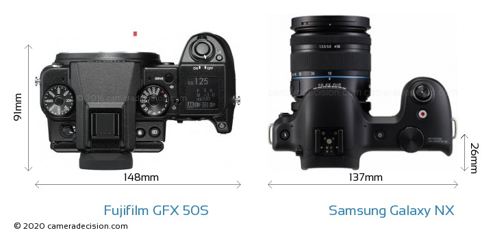 Fujifilm GFX 50S vs Samsung Galaxy NX Camera Size Comparison - Top View