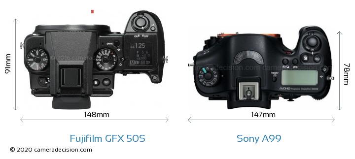 Fujifilm GFX 50S vs Sony A99 Camera Size Comparison - Top View