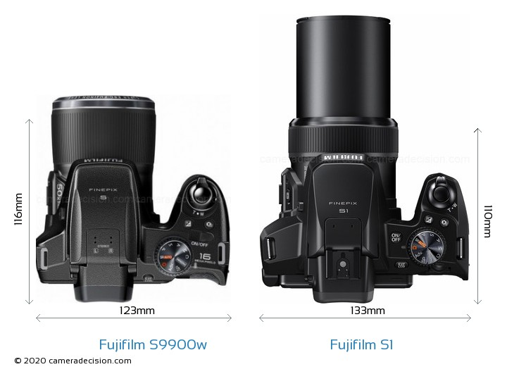 Fujifilm S9900w vs Fujifilm S1 Camera Size Comparison - Top View