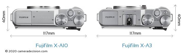 Fujifilm X-A10 vs Fujifilm X-A3 Camera Size Comparison - Top View