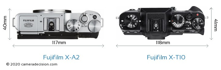 Fujifilm X-A2 vs Fujifilm X-T10 Camera Size Comparison - Top View