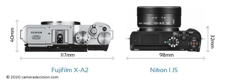 Fujifilm X-A2 vs Nikon 1 J5 Camera Size Comparison - Top View