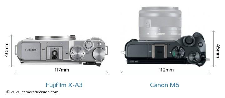 Fujifilm X-A3 vs Canon M6 Camera Size Comparison - Top View