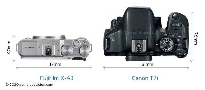 Fujifilm X-A3 vs Canon T7i Camera Size Comparison - Top View