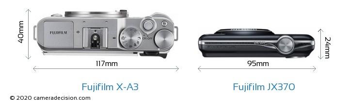 Fujifilm X-A3 vs Fujifilm JX370 Camera Size Comparison - Top View