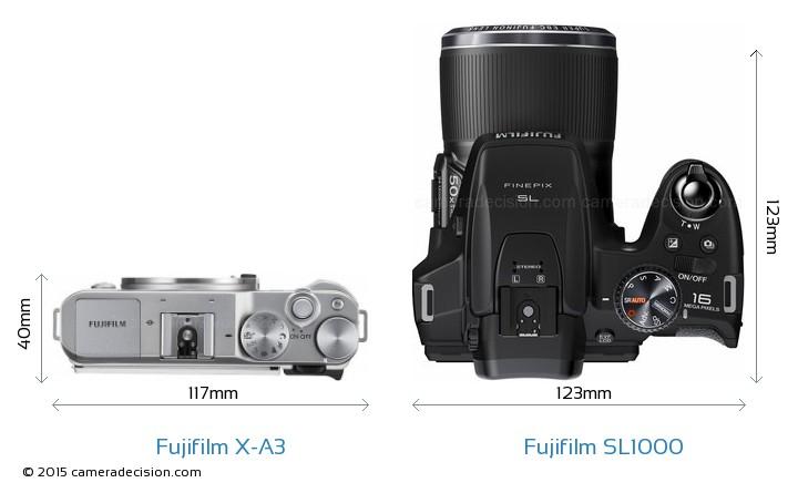 Fujifilm X-A3 vs Fujifilm SL1000 Camera Size Comparison - Top View