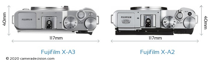 Fujifilm X-A3 vs Fujifilm X-A2 Camera Size Comparison - Top View