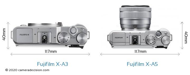 Fujifilm X-A3 vs Fujifilm X-A5 Camera Size Comparison - Top View