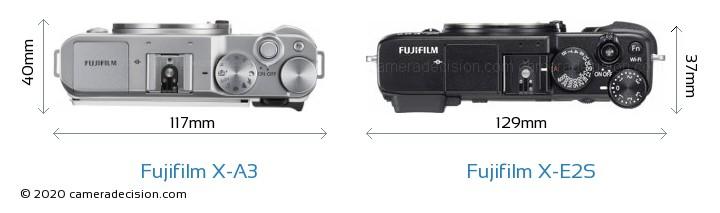 Fujifilm X-A3 vs Fujifilm X-E2S Camera Size Comparison - Top View
