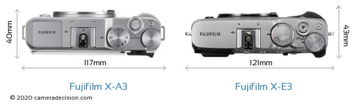 Fujifilm X-A3 vs Fujifilm X-E3 Camera Size Comparison - Top View