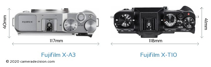 Fujifilm X-A3 vs Fujifilm X-T10 Camera Size Comparison - Top View