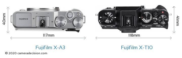 Fujifilm X-A3 vs Fujifilm X-T10 Camera Size Comparison - Top View