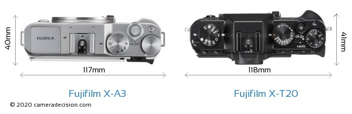 Fujifilm X-A3 vs Fujifilm X-T20 Camera Size Comparison - Top View