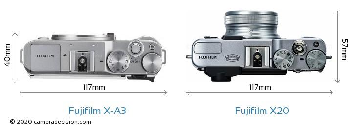 Fujifilm X-A3 vs Fujifilm X20 Camera Size Comparison - Top View