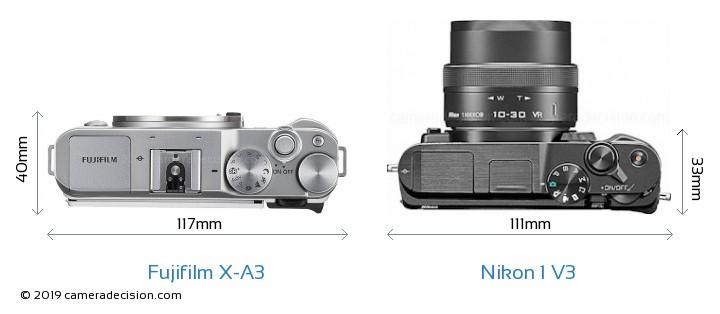 Fujifilm X-A3 vs Nikon 1 V3 Camera Size Comparison - Top View