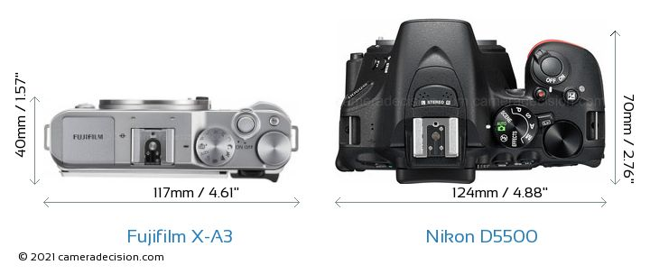 Fujifilm X-A3 vs Nikon D5500 Camera Size Comparison - Top View