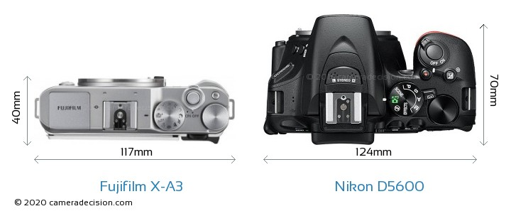 Fujifilm X-A3 vs Nikon D5600 Camera Size Comparison - Top View