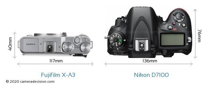 Fujifilm X-A3 vs Nikon D7100 Camera Size Comparison - Top View